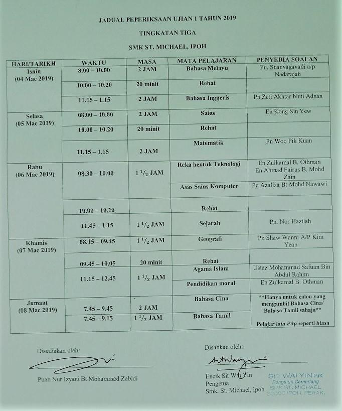 INTERNAL EXAM  2019 – SMK St  Michael, Ipoh Perak, Malaysia